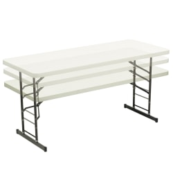 Realspace® Adjustable-Height Molded Plastic Top Folding Table, 8'W, Platinum
