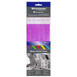 "Sicurix™ Standard Dupont Tyvek Security Wristbands, 10"" x 13/16"", Purple, Pack Of 100"