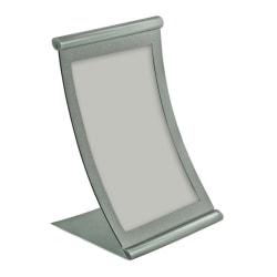 "Azar Displays Metal Vertical Curved Sign Holder, 8-1/2""H x 5-1/2""W x 3""D, Silver"