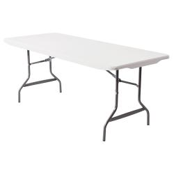 Realspace® Molded Plastic Top Folding Table, 6'W, Gray Granite