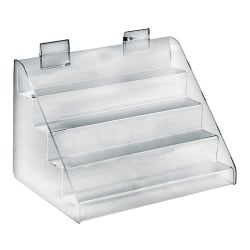 "Azar Displays 4-Tier Counter Step Display, 8""H x 12""W x 8""D, Clear"
