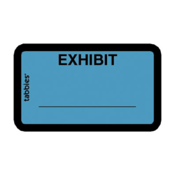 """Tabbies Color-coded Legal Exhibit Labels, TAB58091, 1 5/8""""W x 1""""L, Blue, Pack Of 252"""