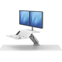 Fellowes® Lotus™ RT Sit-Stand Workstation, Dual Monitor, White