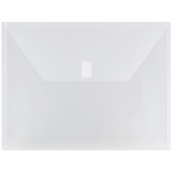 """JAM Paper® Plastic Booklet Envelopes With Hook & Loop Closure, Letter-Size, 9 3/4"""" x 13"""", Clear, Pack Of 12"""