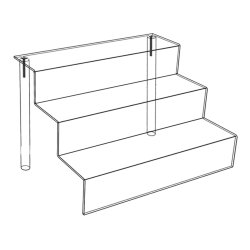 "Azar Displays 3-Tier Counter Step Displays, 6""H x 9""W x 6-1/4""D, Clear, Pack Of 4 Displays"