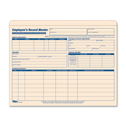"TOPS® Employee Record Master File Jackets, 11 3/4"" x 9 1/2"", Manila, Pack Of 15"