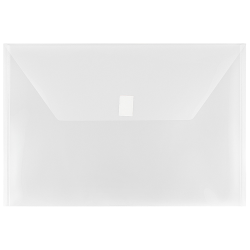 """JAM Paper® Plastic Booklet Envelopes With Hook-And-Loop Fastener, Legal Size, 9 3/4"""" x 14 1/2"""", Clear, Pack Of 12"""