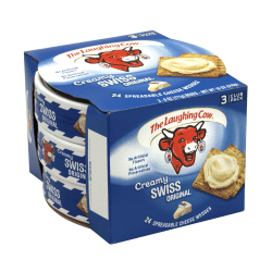 The Laughing Cow Original Creamy Swiss Wedges, 8 Wedges Per Tub, Pack Of 3 Tubs