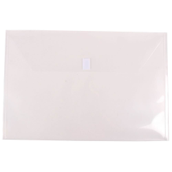 """JAM Paper® Plastic Booklet Envelopes With Hook-And-Loop Fastener, 12"""" x 18"""", Clear, Pack Of 12"""