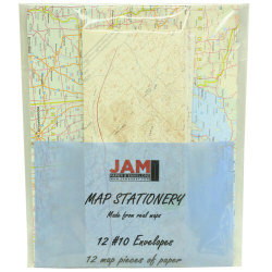 JAM Paper® Map Stationery Set, Set Of 12 Envelopes And 12 Sheets