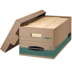 """Bankers Box® Stor/File™ FastFold® Standard-Duty Storage Boxes With Lift-Off Lids, Letter Size, 24"""" x 12"""" x 10"""", 100% Recycled, Kraft/Green, Case Of 12"""