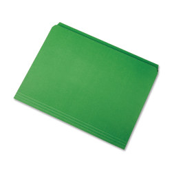 SKILCRAFT® Straight-Cut Color File Folders, Letter Size, 100% Recycled, Green, Box Of 100