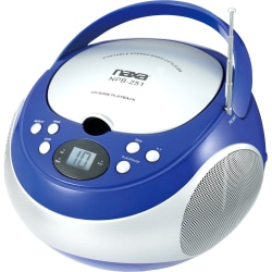 Naxa® Portable MP3/CD Player With AM/FM Stereo Radio, Blue/Silver