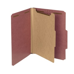 Smead® Pressboard Classification Folders, 1 Divider, Letter Size, 100% Recycled, Red, Box Of 10