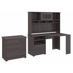 """Bush Furniture Cabot 60""""W Corner Desk With Hutch And Lateral File Cabinet, Heather Gray, Standard Delivery"""