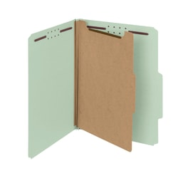 Smead® Pressboard Classification Folders, 1 Divider, Letter Size, 100% Recycled, Gray/Green, Box Of 10