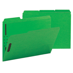 Smead® Color Reinforced Tab Fastener Folders, Letter Size, 1/3 Cut, 100% Recycled, Green, Pack Of 50