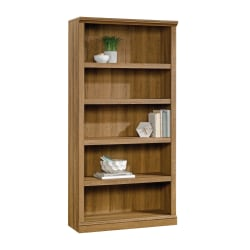 "Realspace® Premium Bookcases 70 1/16"" 5 Shelf Transitional Bookcase, Oak/Light Finish, Standard Delivery"