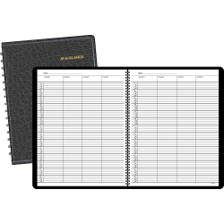 """AT-A-GLANCE® 4-Person Group Undated Daily Appointment Book, 8 1/2"""" x 11"""", 30% Recycled, Black (8031005)"""