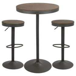 Lumisource Dakota Industrial Farmhouse Table With 2 Bar Stools, Gray/Brown