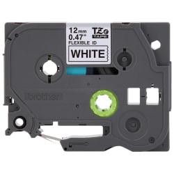 "Brother® TZ Flexible Label Tape, TZEFX-231, 0.47"" x 26.2', Black Print/White Label"