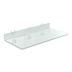 """Azar Displays Acrylic Shelves For Pegboards/Slatwalls, 20"""" x 8"""", Clear, Pack Of 4 Shelves"""