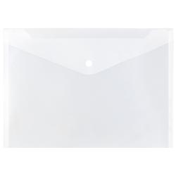 "JAM Paper® Booklet Plastic Envelopes, Letter Size, 9 3/4"" x 13"", Button-Snap Closure,Clear, Pack Of 12"