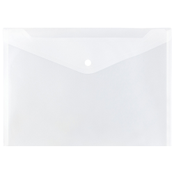 "JAM Paper® Booklet Plastic Envelopes With Button-Snap Closure, Letter Size, 9 3/4"" x 13"", Clear, Pack Of 12"
