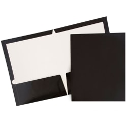 JAM Paper® Glossy 2-Pocket Presentation Folders, Black, Pack of 6