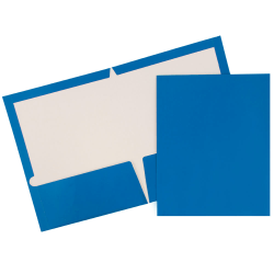 JAM Paper® Glossy 2-Pocket Presentation Folders, Blue, Pack of 6