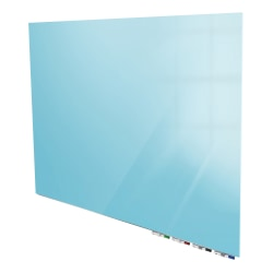 "Ghent Aria Magnetic Low-Profile 1/4"" Glassboard Set, 48"" x 72"", Blue"