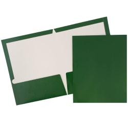 JAM Paper® Glossy 2-Pocket Presentation Folders, Green, Pack of 6