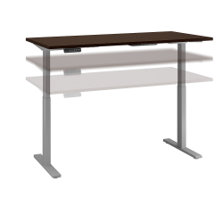 """Bush Business Furniture Move 60 Series 72""""W x 30""""D Height Adjustable Standing Desk, Mocha Cherry Satin/Cool Gray Metallic, Standard Delivery"""