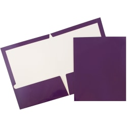 JAM Paper® Glossy 2-Pocket Presentation Folders, Purple, Pack of 6