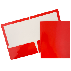 JAM Paper® Glossy 2-Pocket Presentation Folders, Red, Pack of 6
