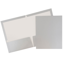 JAM Paper® Glossy 2-Pocket Presentation Folders, Grey, Pack of 6
