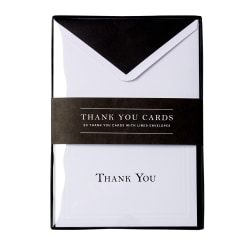 """Sincerely A Collection by C.R. Gibson® Professional Thank You Notes, 3 3/4"""" x 5 5/16"""", Black, Pack Of 20"""
