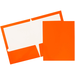 JAM Paper® Glossy 2-Pocket Presentation Folders, Orange, Pack Of 6