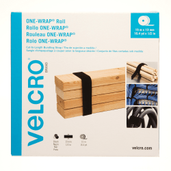 "VELCRO® Brand One-Wrap Cut-to-Length Bundling Strap - 1 Each - 0.2"" Height x 0.5"" Width x 49 ft Length"