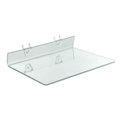 "Azar Displays Acrylic Shelves For Pegboards/Slatwalls, 13-1/2""W x 8""D, Clear, Pack Of 4 Shelves"