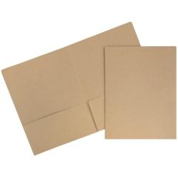 "JAM Paper® Matte 2-Pocket Presentation Folders, 9"" x 12"", 100% Recycled, Brown Kraft, Pack Of 6"