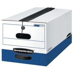 """Bankers Box® Liberty® Plus Heavy-Duty Storage Boxes With String & Button Closures And Built-In Handles, Letter Size, 24"""" x 12"""" x 10"""", 60% Recycled, White/Blue, Case Of 12"""