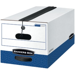 """Bankers Box® Liberty® Plus FastFold® Heavy-Duty Storage Boxes With Locking Lift-Off Lids And Built-In Handles, Legal Size, 24"""" x 15"""" x 10"""", 60% Recycled, White/Blue, Case Of 12"""