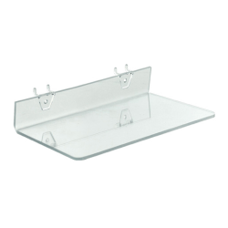 "Azar Displays Acrylic Shelves For Pegboard And Slatwall Systems, 13-1/2""W x 6""D, Clear, Pack Of 4 Shelves"