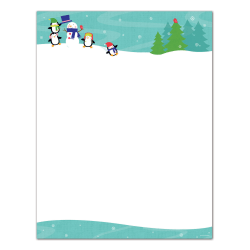 "Great Papers!® Holiday Stationery, 8 1/2"" x 11"", Penguins Playing, Pack Of 80 Sheets"