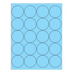 "Office Depot® Brand Circle Inkjet/Laser Labels, LL197BE, 2"", Pastel Blue, Pack Of 2,000 Labels"