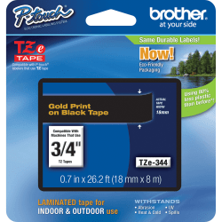 """Brother® TZe-344 Gold-On-Black Tape, 0.75"""" x 26.2'"""