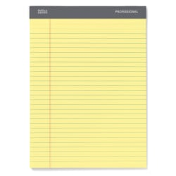 "Office Depot® Brand Perforated Pad, 8 1/2"" x 11 3/4"", Wide Ruled, 200 Pages (100 Sheets), Canary"