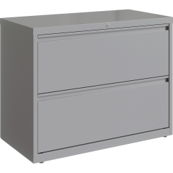 "Lorell 36""W Lateral 2-Drawer File Cabinet, Metal, Silver"