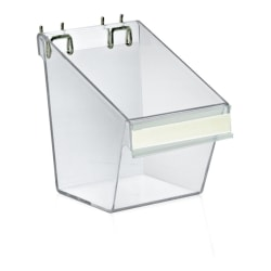Azar Displays Display Buckets With C-Channels, Medium Size, Clear, Pack Of 4